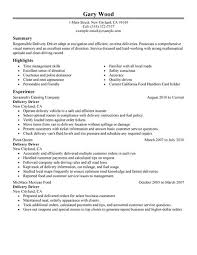 Sample Driver Resume by Sample Career History And Highlights Summary Of Delivery Driver