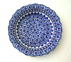ceramic serving platter decorative blue ottoman plate handmade serving platter