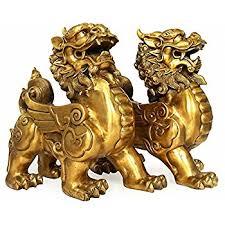 pixiu statue feng shui set of two golden brass pi yao pi xiu wealth