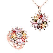 rose zircon necklace images 1 set trendy girls favorites flower shape necklace multi color jpg
