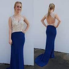 long prom dress royal blue v neck backless with rhinestone