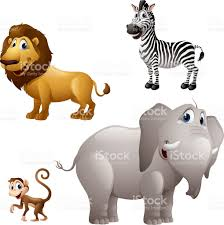 cartoon africa animal set lion zebra monkey elephant stock vector