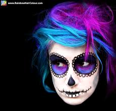 sugar skull hair and makeup day of the dead rainbow hair colour