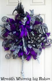 Halloween Mesh Wreaths xl halloween skeleton deco mesh wreath in purple grey u0026 black