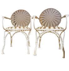 Metal Patio Chair Circa 1930s Francois Carre Style Sunburst Metal Patio Chairs Ebth