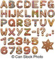 vector illustration of gingerbread font letters ginger bread