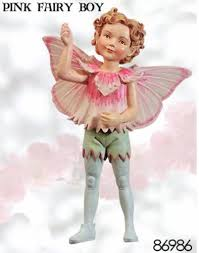 retired cicely mary barker pink boy flower garden fairy ornament