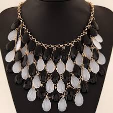 chunky fashion necklace images Wholesale fashion white black teardrop beaded chunky bib necklace jpg