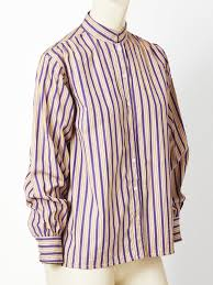 muted purple yves saint laurent muted tones stripe cotton shirt