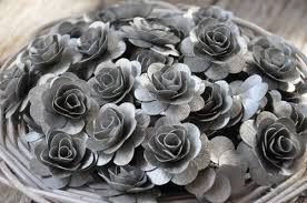 silver roses silver wooden roses made of birch wood shavings two dozens