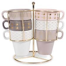 6 tazze supporto in maiolica modern copper home kitchenware