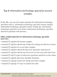 Logistics Specialist Resume Top8informationtechnologyspecialistresumesamples 150408222428 Conversion Gate01 Thumbnail 4 Jpg Cb U003d1428549913