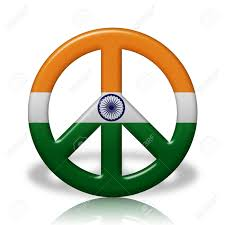 a peace sign symbol in 3d flag colors of india peace in india