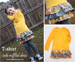re purposing long sleeved tee into ruffled dress make it and