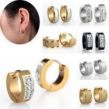 mens huggie earrings unisex fashion stainless steel earrings gold silver