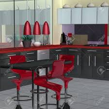 modern red kitchen modern kitchen in red black and white stock photo picture and