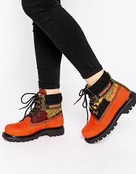 womens caterpillar boots canada lyst caterpillar colorado orange wool mix leather ankle boots in