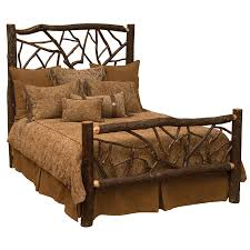 rustic unpeeled hickory twig style bed