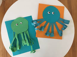 easy summer craft for kids curly paper octopus the chirping moms