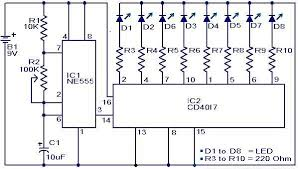 electronic components led lights disco led lights circuit using ic 555 circuit diagram and circuits