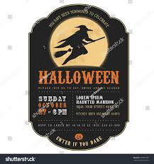 halloween invitation pictures vintage halloween invitation witch flying on stock vector