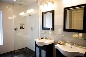 small black and white bathrooms ideas double black wooden vanity with white sink plus double mirror with
