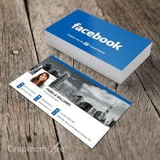 facebook blue business card template mockup design free download