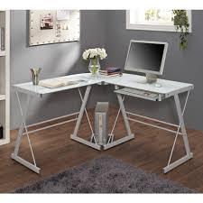 Glass Top Computer Desks For Home Walker Edison L Shaped Glass Top Computer Desk In Silver Ebay