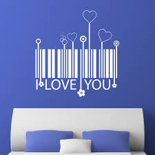 i love you barcode and hearts wall sticker world of wall stickers