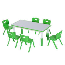 aosom qaba 7 piece kids learning activity table and chair set