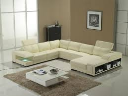 contemporary minimalist living room design with white leather u