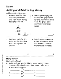 adding and subtracting money worksheets 3rd grade u0026 counting money