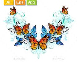 symmetrical pattern of blue and orange butterflies by blackmoon9