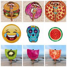 18 designs round beach towel pizza hamburger strawberry emoji