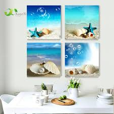sea home decor conch shell 4 piece canvas painting for kids room home decor conch