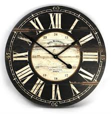 Wall Clock Hotel Westminster Rustic Cottage Black White Large Wall Clock