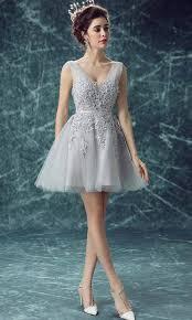 grey short prom dresses with applique lace up ksp452 ksp452