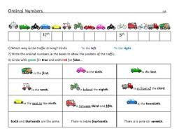 ordinal numbers worksheet differentiated kindergarten to grade 1