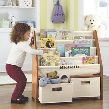 kids sling bookshelf with storage bins from montgomery ward 31957
