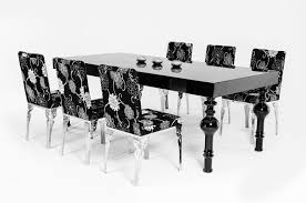 Transitional Dining Room Chairs Transitional Black High Gloss Dining Table