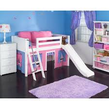 single bed for girls loft bed with slide and pink blue tent made of oak wood in white