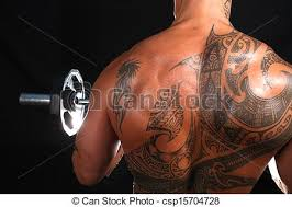 body builder with tattoos body builder with big biceps stock