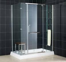 bathroom fascinating black tile bathroom design with glass door