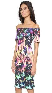 clover canyon flamenco fire off shoulder dress multi lyst