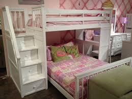 Furniture White Wooden Bunk Bed With Storage Drawer Ladder Using - Pink bunk beds for kids