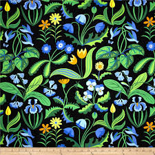 enchanted millefleurs periwinkle discount designer fabric