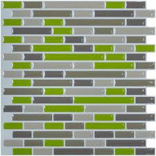 Kitchen Backsplash Peel And Stick Tiles Art3d Kitchen Backsplash Peel And Stick Tile Smart Green Brick