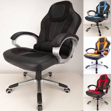 raygar black deluxe padded sports racing chair gaming executive