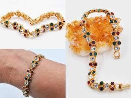 crystal link bracelet images Vintage swarovski gold and crystal link bracelet multicolor jpg
