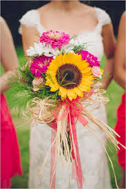 Sunflower Wedding Bouquet Zinnia Sunflower Wedding Bouquet My Wedding Guide